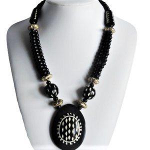 Vtg Ebony Carved Bovine Bone Necklace Monies Style